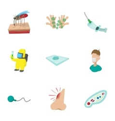 Virus malaria icons set cartoon style vector