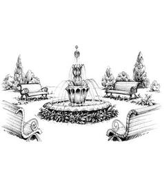 Water fountain in the park vector image