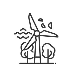 Windmill - modern single line icon vector