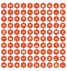 100 lotus icons hexagon orange vector
