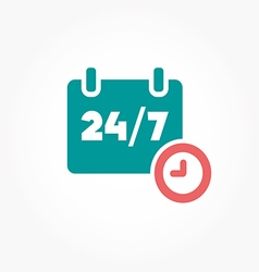 Open 24 hours day and 7 days week icons vector image