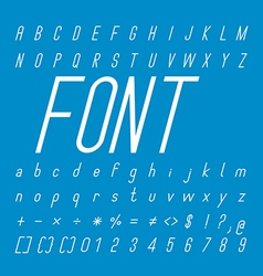 Thin italic font family and alphabet font design vector
