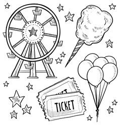 Doodle fair carnival set vector