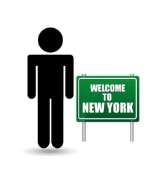 silhouette man sign welcome new york vector image