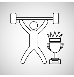 Silhouette person weight lifting winner sport vector