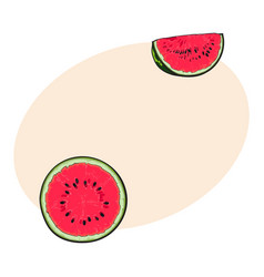 Half and quarter of ripe red watermelon with black vector