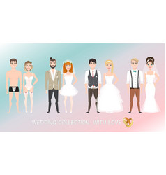 Set of couples newlyweds in cartoon style vector