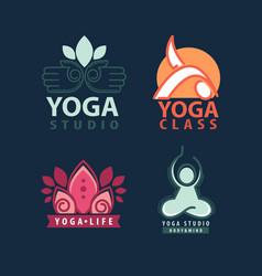 Yoga studio body and mind logotype vector