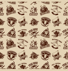 Set of meat store fresh meat labels seamless vector