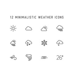 Weather thin line icon set vector