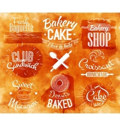 Bakery characters watercolor vector image
