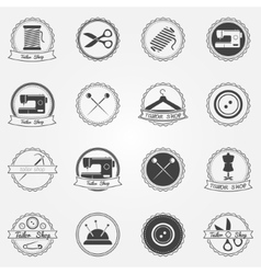 Tailor shop elements and badges vector