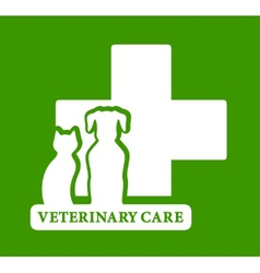 Green veterinary care icon vector
