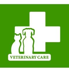 green veterinary care icon vector image