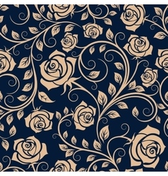 Twisted blooming roses seamless pattern vector