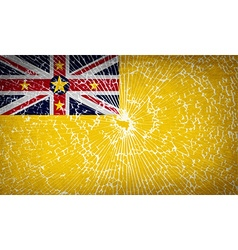 Flags niue with broken glass texture vector