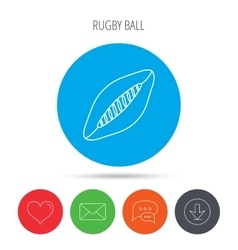 Rugby ball icon american football sign vector