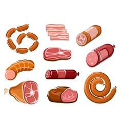 Sausages ham bacon roast beef and steak vector