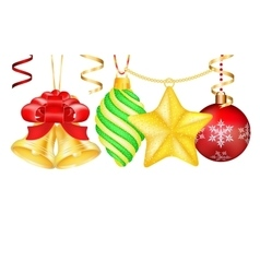 Vintage christmas 3d decoration toys vector
