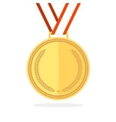 Golden medal flat style vector