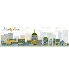 Abstract montpelier vermont city skyline vector