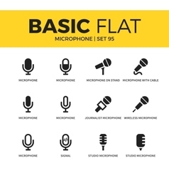 Basic set of microphone icons vector
