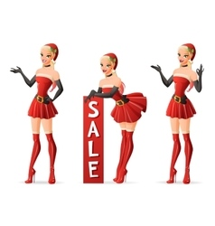 Beautiful girls in Santa costume in different vector image vector image