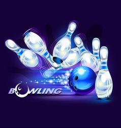 Bowling game blue vector image