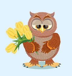 Brown owl with big eyes holding a bouquet vector