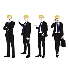 Business man full body color blonde vector