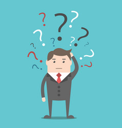 businessman with question marks vector image
