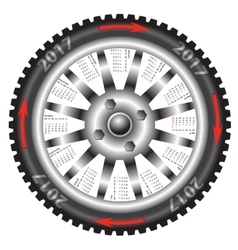 Calendar 2017 year wheel car vector image