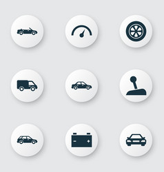 Car icons set collection of truck accumulator vector