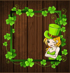 Clover leaves and girl vector