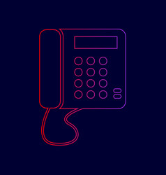 Communication or phone sign line icon vector