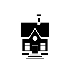 Cute countryside house icon simple style vector