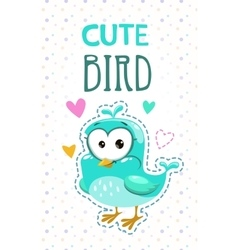 Cute girlish with funny blue bird vector