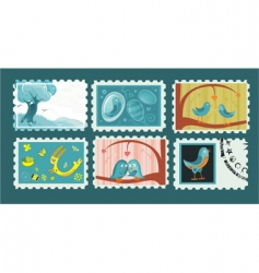 Easter postage stamps vector image