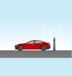 electric car charging on parking station vector image vector image