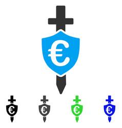 Euro shield flat icon vector