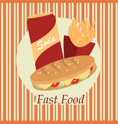 Fast food over yellow background vector