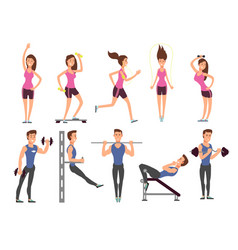 fitness people cartoon characters set vector image