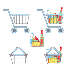 flat basket icon set vector image vector image