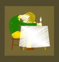 flat shading style icon man sleeping at desk vector image vector image