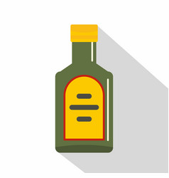 Green bottle of whiskey icon flat style vector