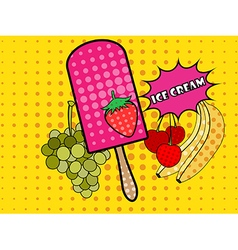 Ice cream pop art style vector