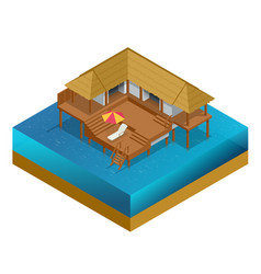 Isometric bungalow summer house wooden villa vector