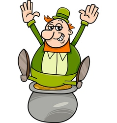 leprechaun and pot of gold cartoon vector image vector image