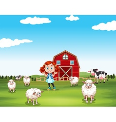 Little girl and sheeps at the farm vector