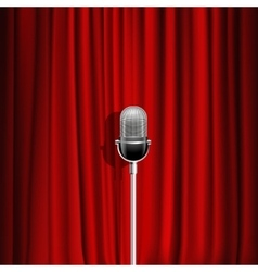 Microphone And Red Curtain Background vector image